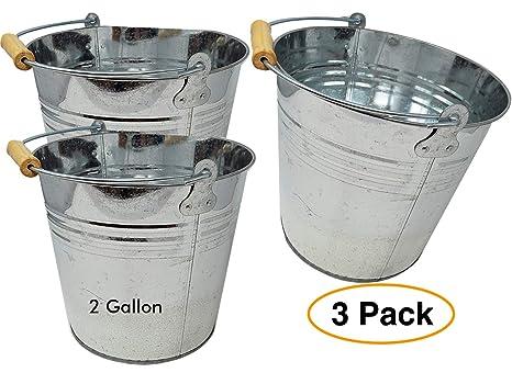 Amazon.com: Grande 2 galones cubo de metal (3 unidades ...