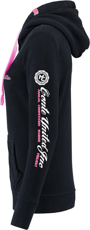 M Conte Felpa con Zip Cappuccio da Donna Felpa Giacca Cerniera Maglia Sweat Shirt,Blu Nero Grigio Melange Bianco S M L XL Rachel