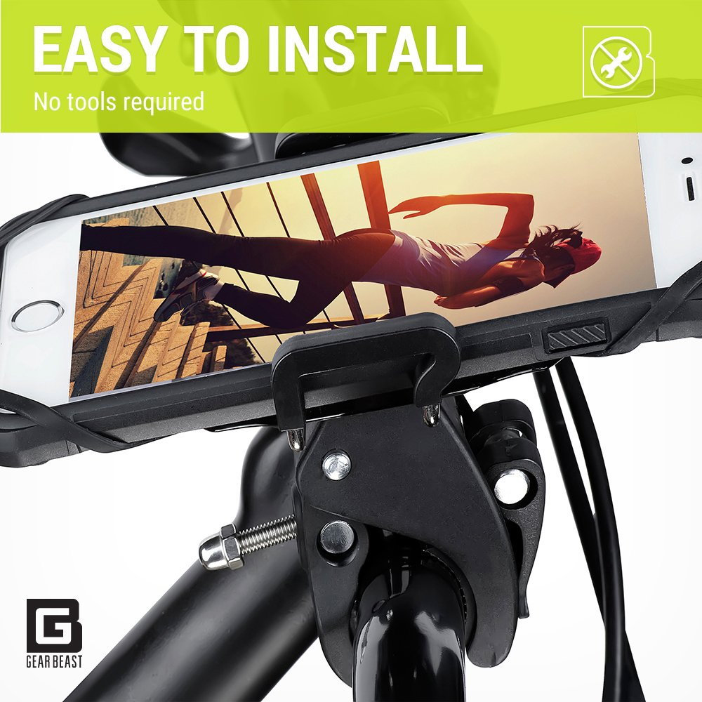 Gear Beast Universal Bike Phone Mount Mobile Cell Phone Holder Case for iPhone X 8 8 Plus 7 7 Plus 6s 6s Plus 6 6 Plus Galaxy S8 S8 Plus S7 S7 Edge S6 Note 8 5. GPS Mount Motorcycle Phone Mount