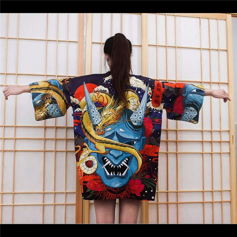 Drunk Breeze Kinomo Kimono japonés Tradicional Yukata para Mujer, Kimono Cosplay japonés Tradicional japonés Kimonos japoneses - Negro - Talla Única: Amazon.es: Ropa y accesorios