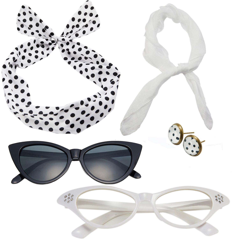 50s Costume Accessories Set Chiffon Scarf Cat Eye Glasses Bandana Tie Headband and Earrings