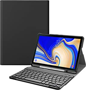 Fintie Keyboard Case for Samsung Galaxy Tab S4 10.5 2018 Model SM-T830/T835/T837, Slim Shell Lightweight Stand Cover with Detachable Wireless Bluetooth Keyboard, Black