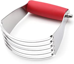 Spring Chef Dough Blender, Top Professional Pastry Cutter with Heavy Duty Stainless Steel Blades, Medium Size, Red