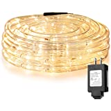 LE 33ft 240 LED Rope Light, Waterproof, Connectable, Low Voltage, Warm White, Indoor Outdoor Clear Tube Light Rope and String