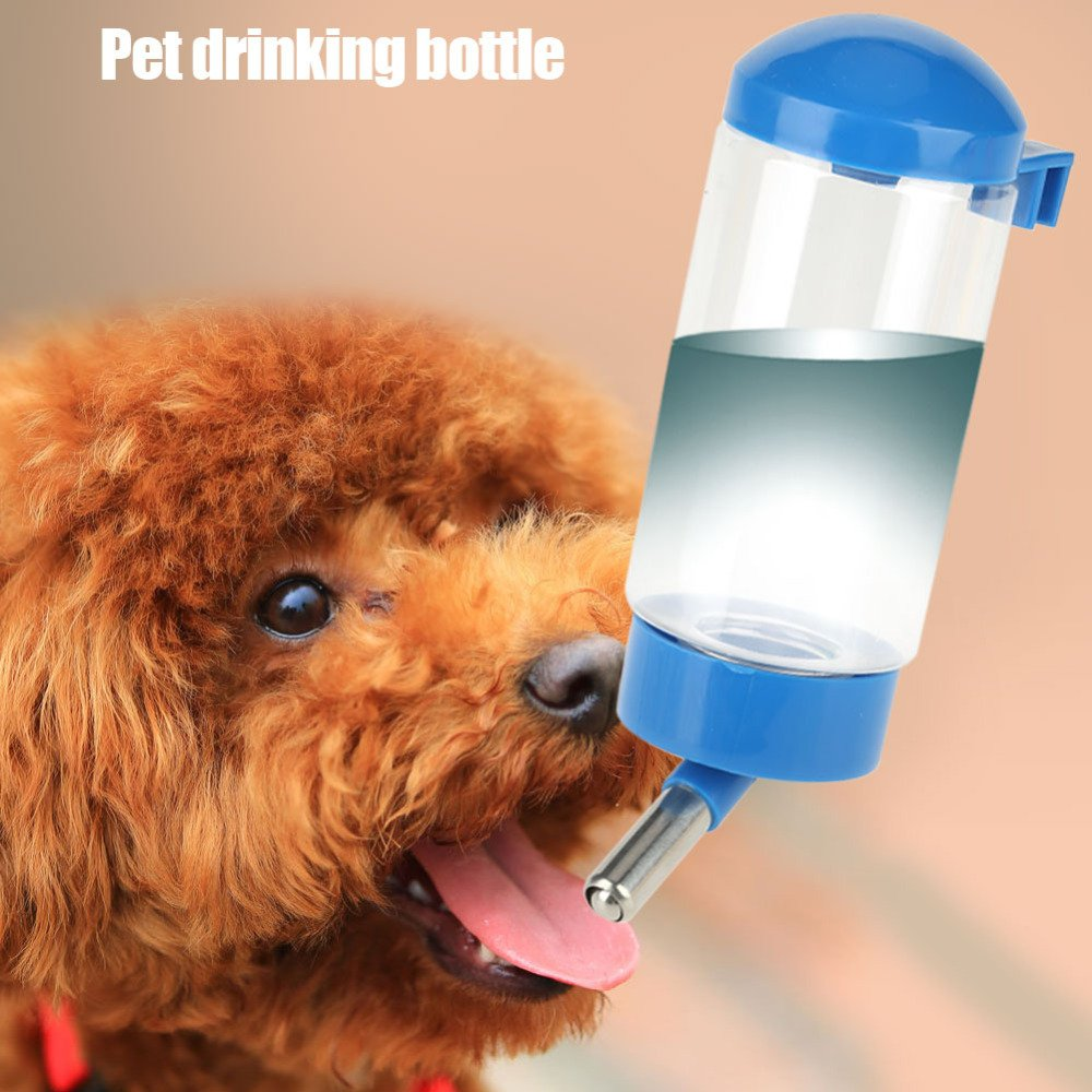 ERTIANANG 400Ml Pet Drinking Bottle Leak Resistant Automatic Animal Water Bottle Ball Nozzle Rabbit Dog Cat Drinking Kettle(Blue)