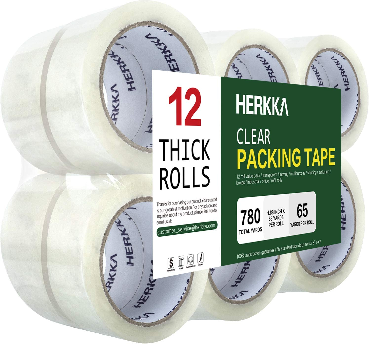 Clear Packing Tape, HERKKA 12 Rolls Heavy Duty Packaging Tape for Shipping Packaging Moving Sealing, Thicker Clear Packing Tape, 1.88 inches Wide, 65 Yards Per Roll, 780 Total Yards