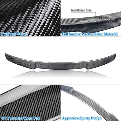 Type 8V Rolling Gears Real Carbon Fiber Trunk Spoiler Wing Compatible with 2014-20 A3 S3 RS3 Sedan R-Style