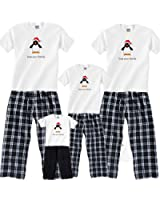 Penguin Christmas Flannel Clothing; Choose Kids or Adult Set for Family Matching