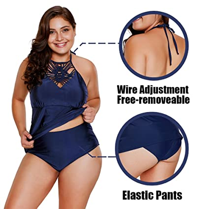 9d062a58c20da ONMet 2018 Women's Plus Size Tankini Two Piece Bikini Set Swimsuit High  Waisted Tankini Swimwear Bathsuit M-3XL at Amazon Women's Clothing store: