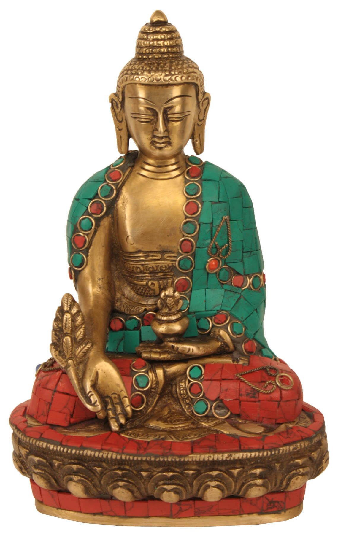Aone India Medicine Buddha Meditating Statue for Peace and Relaxation Brass with Hand Carved Finish Wedding Gifts + Cash Envelope (Pack Of 10)