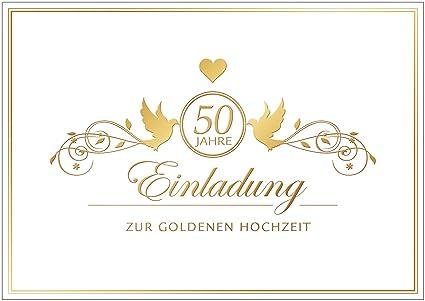 Einladung Zur Goldenen Hochzeit Edle Einladungskarte Zur Hochzeit Klappgrusskarte Hochzeitskarte Mit Ornamenten Herz Und Tauben In Goldgelb Kein