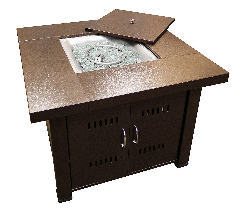 AZ Patio Heaters GS-F-PC Propane Fire Pit, 40,000 BTU, Square, Antique Bronze Finish by AZ Patio Heaters