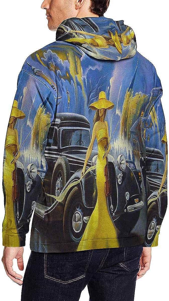 Old City Lightweight Hoodie INTERESTPRINT Mens Car and Girl