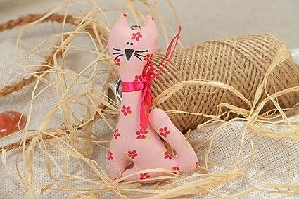 Llavero textil hecho a mano gato rosado a flores: Amazon.es ...