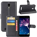 Doogee X10 Case, Fettion Premium PU Leather Wallet Flip Phone Protective Case Cover with Card Slots and Magnetic Closure for Doogee X10 Smartphone (Wallet - Black)