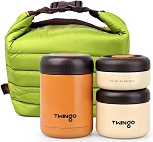 Twingo Crema Stainless Steel Vacuum Thermal insulated Bento Lunch Box Jar Set with insulated Bag