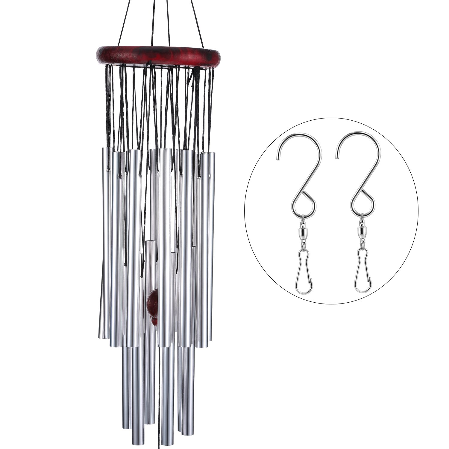 TecUnite Wind Chimes Grace Chime 18 Aluminum Alloy Tubes Large Wind Bells for Decorating Indoor Conversation Area Balcony Back Porch Outdoor Patio Backyard, Garden with 2 Pack Swivel Hooks Clips, Silv
