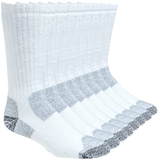 Working Person's 8766 White 4-Pack Steel Toe Crew Socks - Made In The USA (Large)