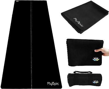 Plyopic Esterilla de Yoga para Viajes | Colchoneta/Toalla 3-en-1 Plegable | Antideslizante Reversible para Yoga, Pilates, Fitness y Ejercicio | ...