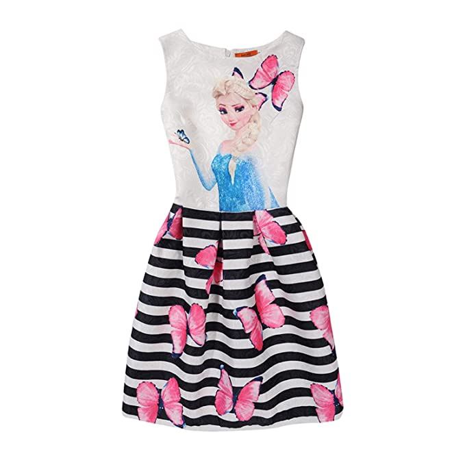 JEWH Summer Girls Dress Anna Elsa Dress - Party Vestidos Teenagers Butterfly Print Princess Dress for