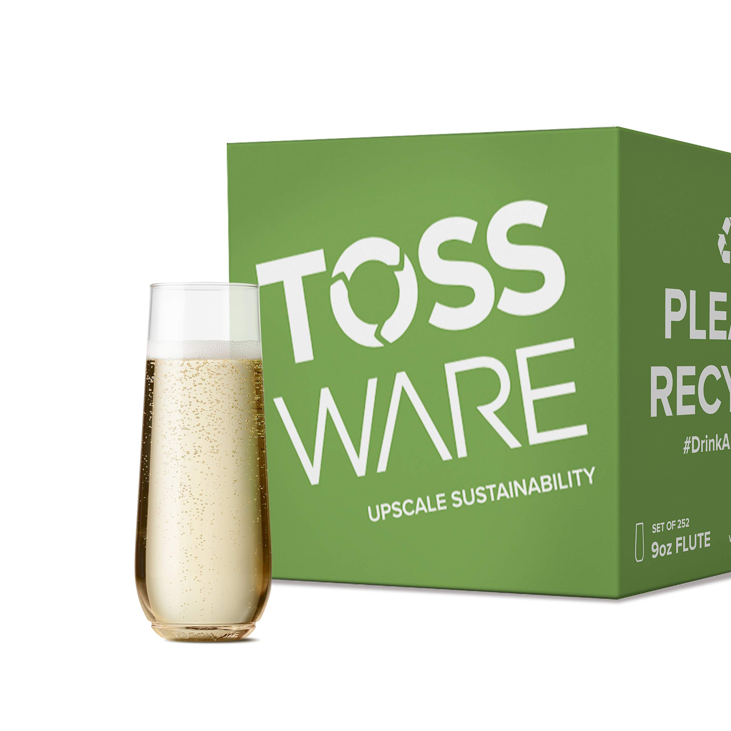 TOSSWARE 9oz Flute - Set of 252 recyclable champagne plastic cup - stemless, shatterproof and BPA-free Clear by TOSSWARE (Image #1)