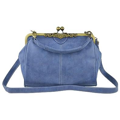 a1871f441901 Amazon.com  Micom 2016 New Retro Vintage Kiss Lock Faux Nubuck Leather  Purse Handbag Totes Shoulder Bag for Women