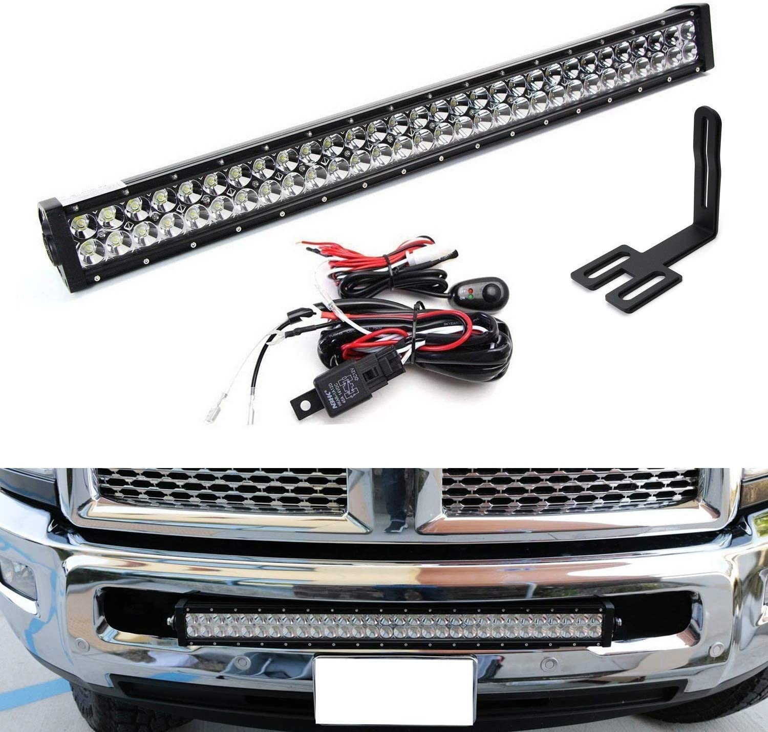 iJDMTOY Lower Grille 30-Inch LED Light Bar Compatible With 2003-18 Dodge RAM 2500 3500 HD, Includes (1) 180W High Power LED Lightbar, Lower Bumper Opening Mounting Brackets & On/Off Switch Wiring Kit