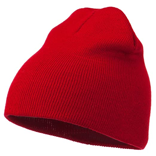 Amazon.com  Ultra Soft Acrylic Knit Beanie - Red OSFM  Clothing 2564f8c54ff