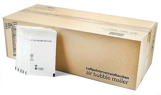 com-four® Bolsas de colchón de Aire 200, Bolsas de Correo en Formato A/1 (para DIN A6) con perforación y Sello Adhesivo (A / 1-200 Piezas)