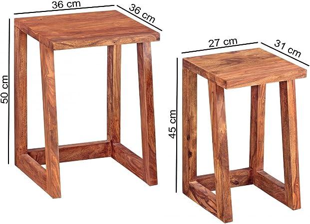 Tavoli Quadrati Di Design.Set Di 2 Tavoli Da Salotto In Legno Massello Di Design Di Hebaham