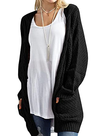 HIKARE Women's Oversized Long Sleeve Open Front Chunky Cable Knit ...
