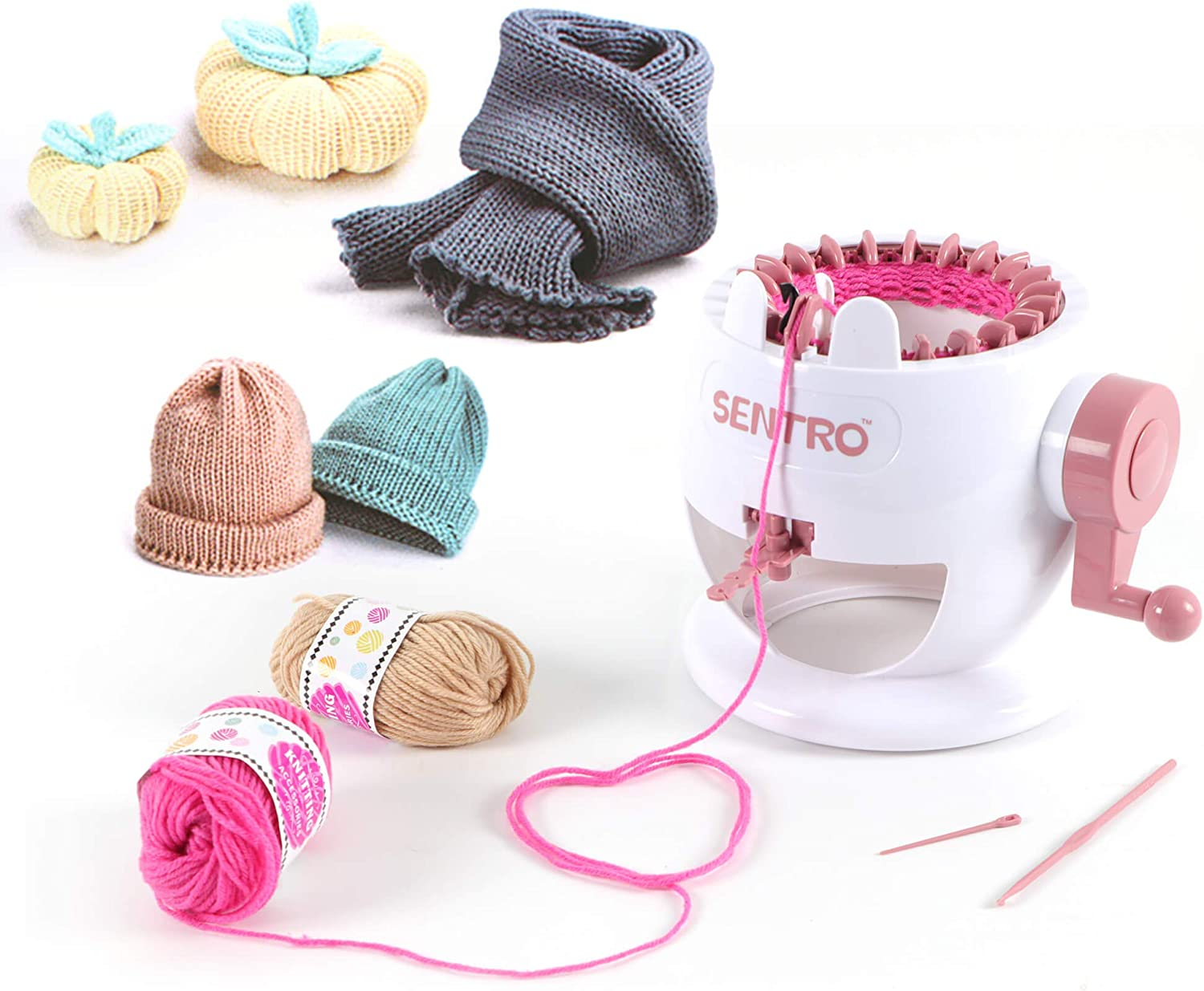 Knitting machine and examples of beginner knitting pieces.