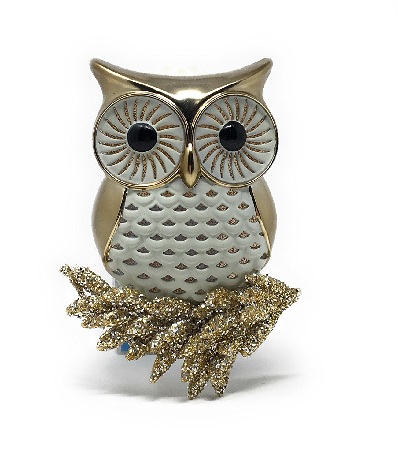 Bath and Body Works Gold and White Owl Nightlight Perched on Glitter Branch Wallflower Plug In Diffuser