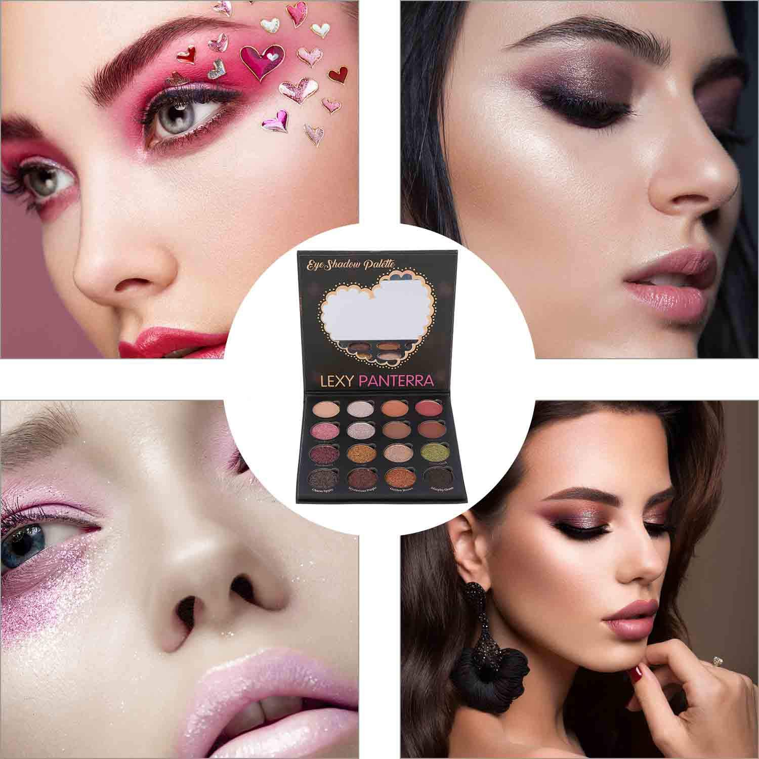 Kissfairy 16 Colors Glitter Eyeshadow Palette, Shiny and Pigmented Mineral Pressed Powder Eye Shadow Shimmer for Make up