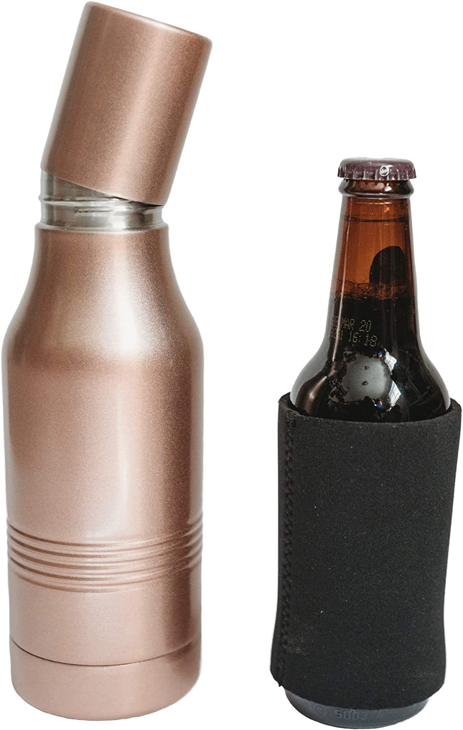 Rose Gold Beer Bottle Keeper for Beer for 12oz Bottles- Stainless Steel Beverage Insulator Beer Bottle Insulator for Women- Beer Huggers for Cold Beverages Insulated Travel Container with Cap
