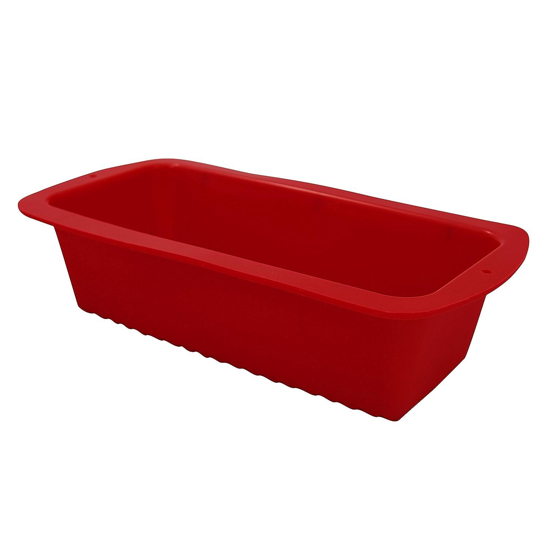 Marathon Premium Silicone Loaf/Bread Pan, Color-Red. SKU-KW200009RD