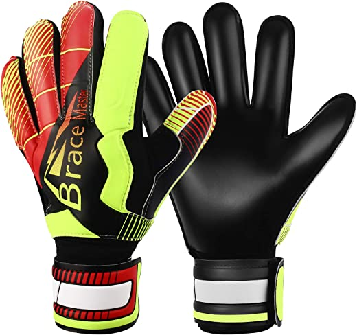 Goalie Gloves for Youth & Adult, Goalkeeper Gloves Kids with Finger Support, Black Latex Soccer Gloves for Men and Women, Junior Keeper Football Gloves for Training and Match, Size 7/8/9/10/11