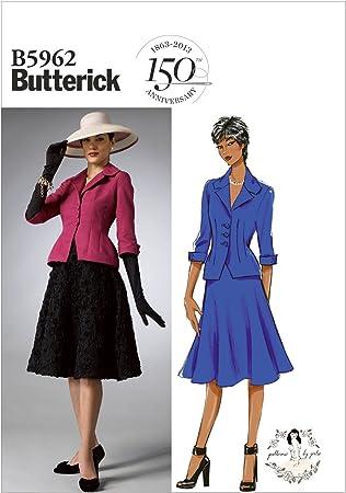 Butterick Patterns Taille 810121416 B5962 Patron de couture pour femme Ensemble Veste et jupe Blanc
