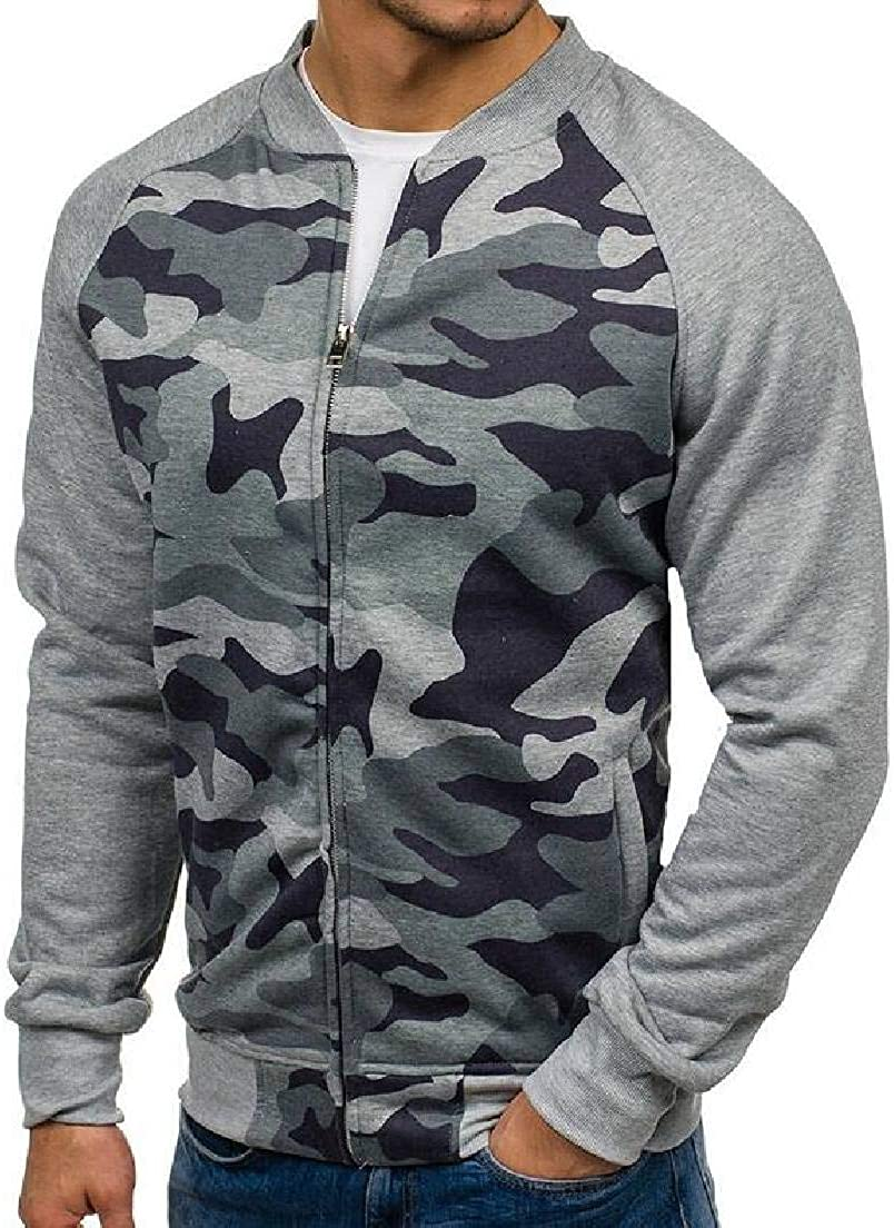Abeaicoc Men Contrast Camo Stand Collar Long Sleeve Zipper Open Sweatshirt