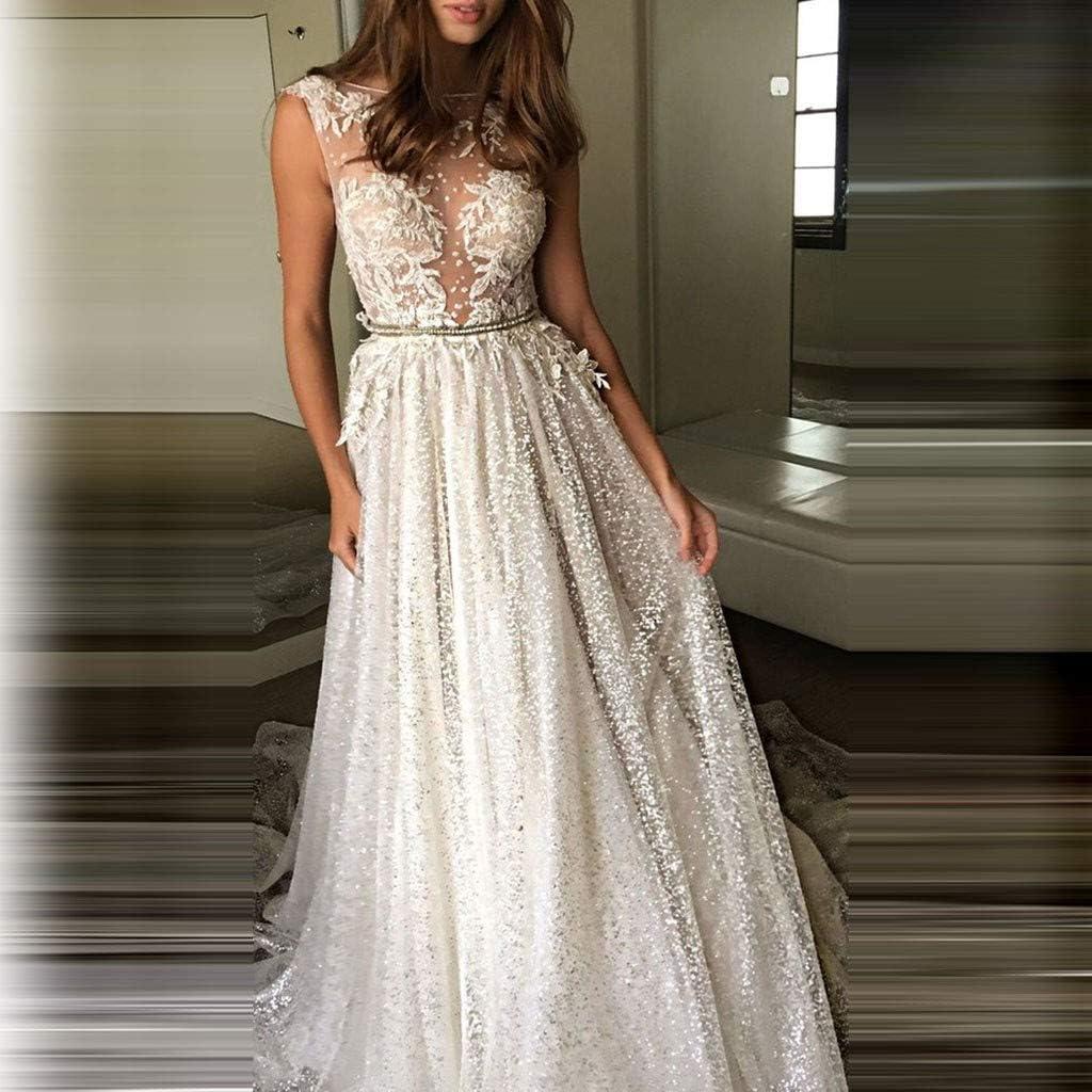 Abito da Sera Donna Lungo in Chiffon Elegante Vestiti Senza Maniche Abito Cerimonia Impero in Pizzo 80003
