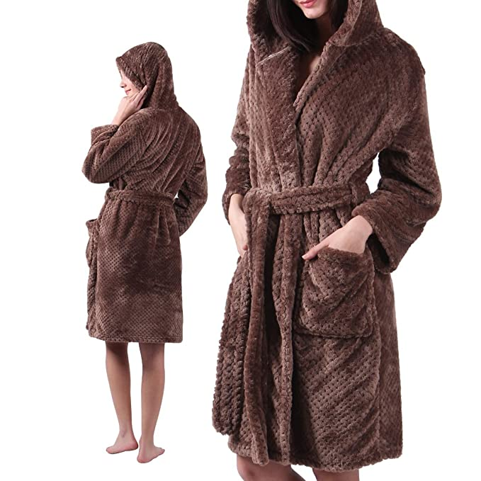 989dc59e9c Hooded Sleepwear   Loung Ladies Robes - Womens Microfiber Bathrobe -  Lightweight Fluffy