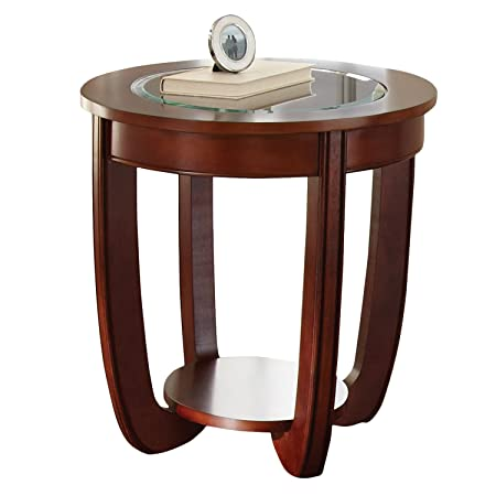 Topeakmart Living Room Modern Glass Top Coffee Tables Metal Base Glass Side End Table with Stainless Steels Legs Oval