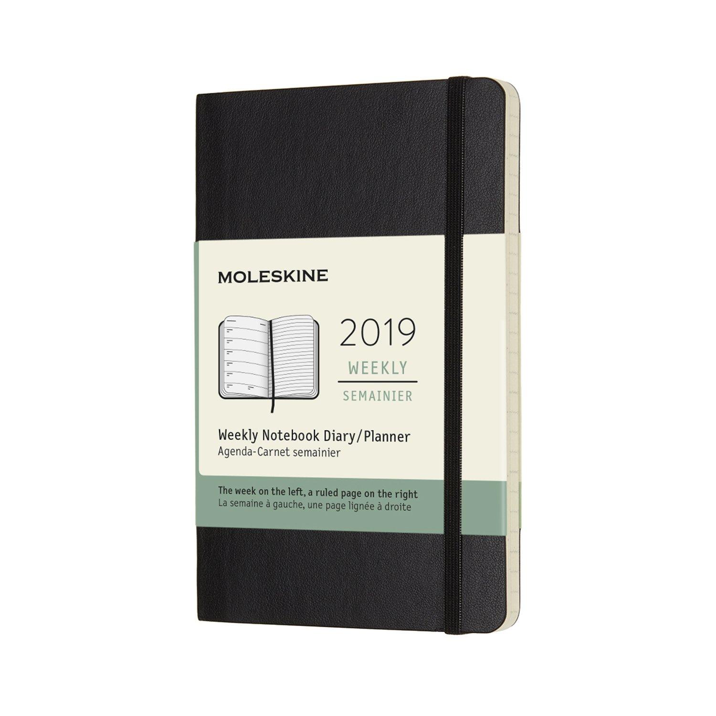 Moleskine 2019 12M Weekly Notebook, Pocket, Weekly Notebook, Black, Soft Cover (3.5 x 5.5)