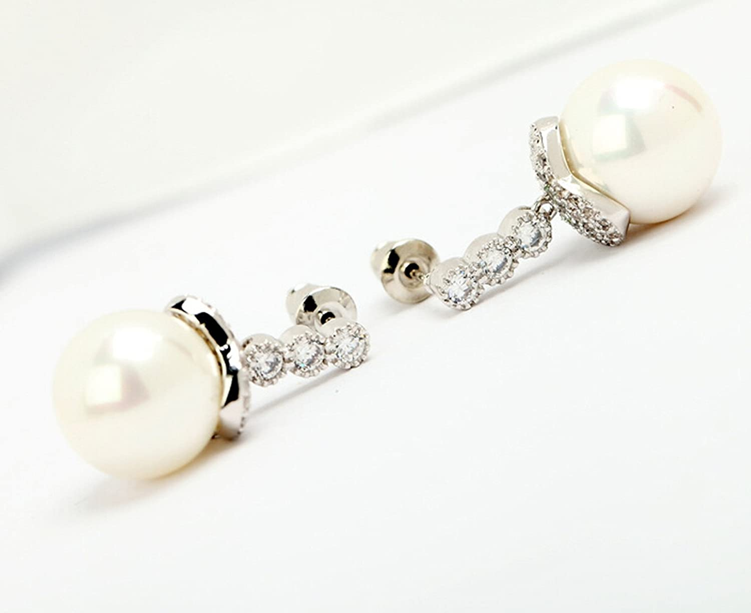 Epinki White Gold Plated Earrings Womens Stud Earring White Cubic Zirconia White Round Pearl Classic