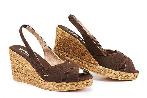 Zapatos de esparto VISCATA de cuña de 5 cm con elástico en la parte trasera, punta abierta, fabricados en España: Amazon.es: Zapatos y complementos