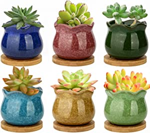 ZOUTOG Succulent Pots, 4 inch Ceramic Ice Crack Flower Planters, Colorful Pot with Bamboo Trays, Pack of 6 (Plants Not Included)