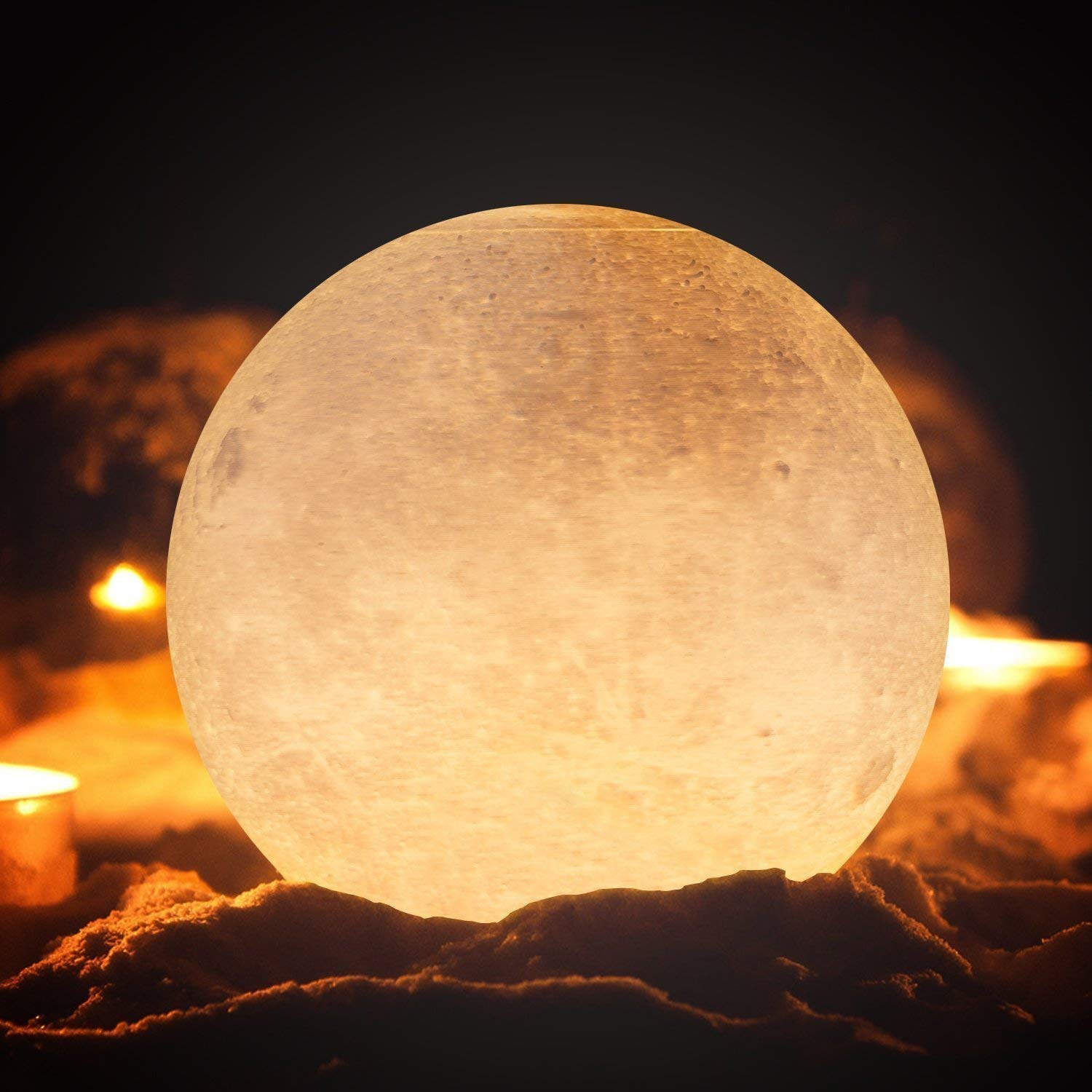 3D Printed Moon Lamp, LED Glowing Moon Globe Light, Night Light with Wood Stand Creative Gift for Child LED Dimmable (5.9inch)