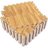 Eva Foam Mat, Superjare 16 Tiles (16 tiles = 16 sq.ft) Interlocking Tiles, Protective Flooring with Boarders Light Wood Grain