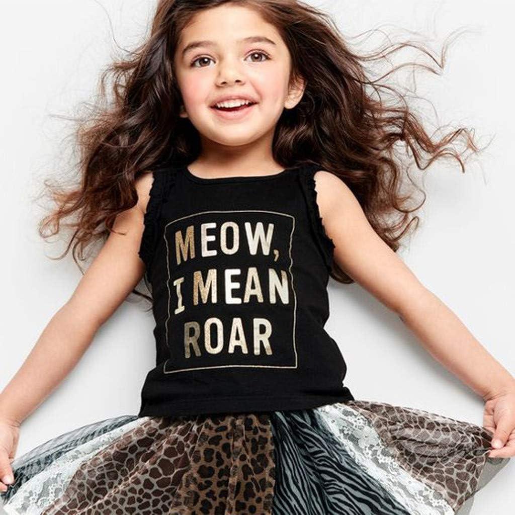 Tanhangguan Baby Girls Toddler Kids Letter Print Ruffled Vest T-Shirts+Leopard Lace Tutu Shirt 2pcs Sets Outfits