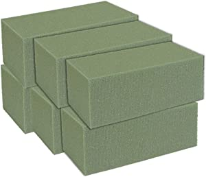 Premium Dry Floral Foam Bricks, Green Styrofoam Foam Blocks, 6 Pack - Great for Artificial Floral Dried Arrangements Decorations, Permanent botanicals or Any Arts & Crafts Project.